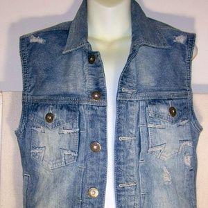 Carbon Blue Denim Womens Vest Distressed Sz S